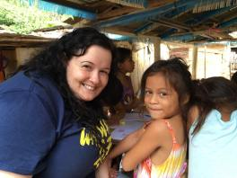 Volunteer AndRea and her new best friend